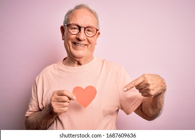 Senior grey haired man holding heart shape paper over pink background very happy pointing with hand and finger