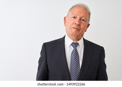 Senior grey-haired businessman wearing suit standing over isolated white background Relaxed with serious expression on face. Simple and natural looking at the camera.
