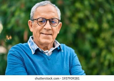Senior grey-haired man smiling happy standing at the city.