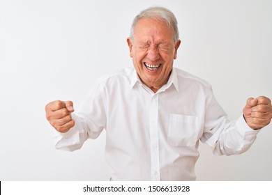 Senior grey-haired man wearing elegant shirt standing over isolated white background very happy and excited doing winner gesture with arms raised, smiling and screaming for success.