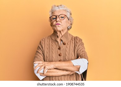 Senior grey-haired woman wearing casual clothes and glasses skeptic and nervous, disapproving expression on face with crossed arms. negative person.  - Shutterstock ID 1908744535