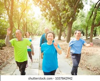 happy senior Group Walking In Park