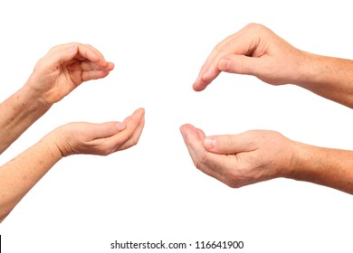 senior hands show hold inside gesture, isolated