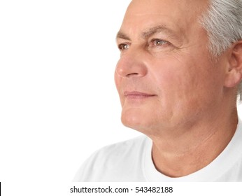 Senior handsome man on white background