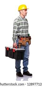 senior handyman hold toolsbox isolated on white