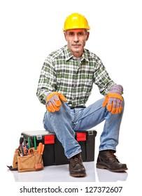 senior handyman isolated on white background
