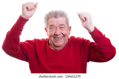 Senior is happy and raises his arms