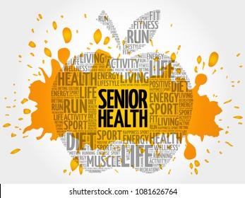 Senior health apple word cloud, health concept background