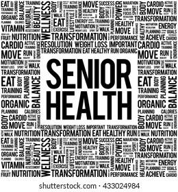Senior health word cloud background, health concept
