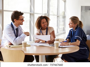 Senior healthcare consultation in a meeting room, close up