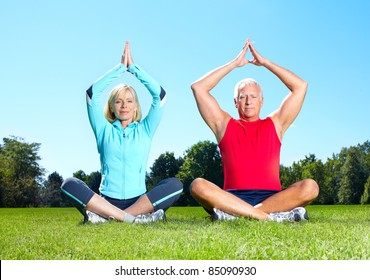 Senior healthy fitness couple. In the park.