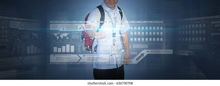Senior High School Student touching data on hologram screen  3d rendering School boy using virtual screen