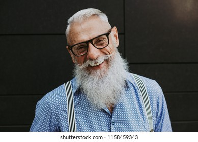 Senior hipster with stylish beard portraits