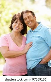 Senior Hispanic couple outdoors