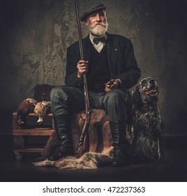 Senior hunter with a english setter and shotgun in a traditional shooting clothing on a dark background.