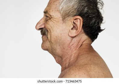 Senior indian guy with shirtless smiling portrait