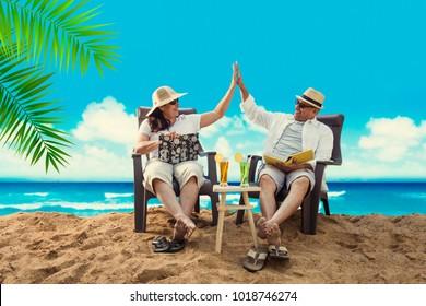 Senior Indian/Asian couple at beach