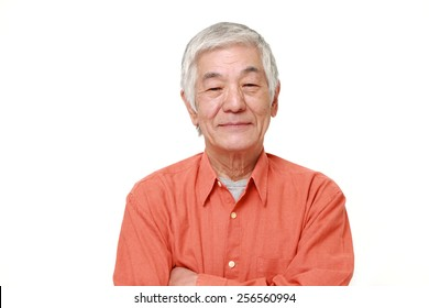 senior Japanese man in good mood
