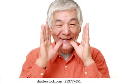 senior Japanese man shout something