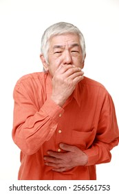 senior Japanese man vomit