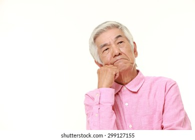 senior Japanese man worries
