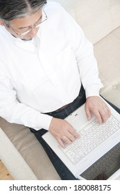 Senior Japanese men Using Laptop