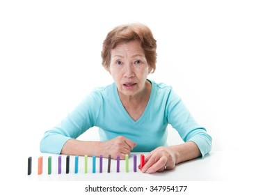 Senior Japanese women, domino