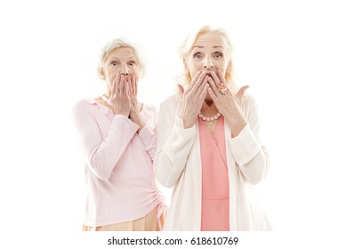 Senior ladies expressing their surprise