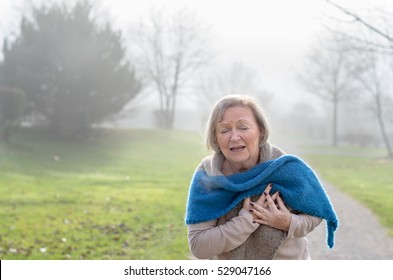 Senior lady clutching her chest in pain at the first signs of angina or a myocardial infarct or heart attack, upper body on a rural lane on a misty winter day
