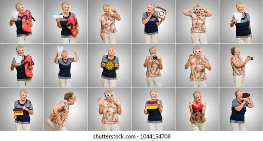 Senior lady collage against grey background