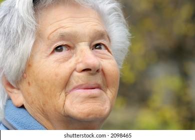 Senior lady looking ahead