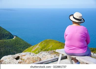 Senior lady at Skyline Trail, Nova Scotia, Canada