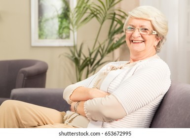 Senior lady smiling happy and relaxed indoors