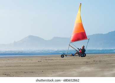 A senior land sailor on the Oregon coast.