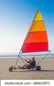 A senior land sailor on the Oregon coast.