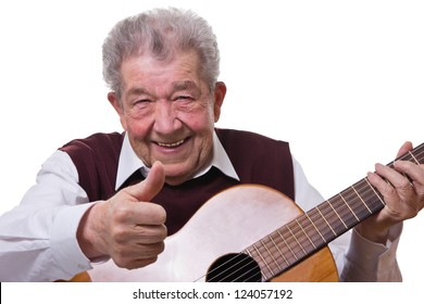 Senior learns to play the guitar