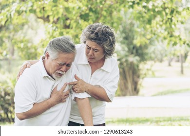 Senior male asian suffering from bad pain in his chest heart attack at garden park , Wife supporting husband - Elderly couple senior heart disease