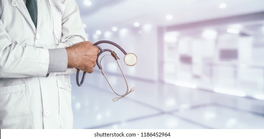Senior male doctor working at the hospital. Medical healthcare and doctor staff service.