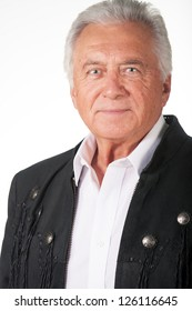 Senior male man in country black leather jacket portrait
