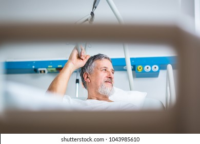 Senior male patient in a modern hospital.