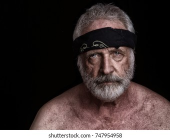 Senior man in bandana with Grey Hair