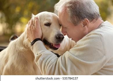 Senior man and big dog, closeup