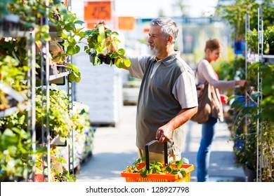 Senior man buying strawberry plants in a gardening centre