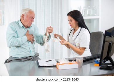 Senior man with a cardiologist