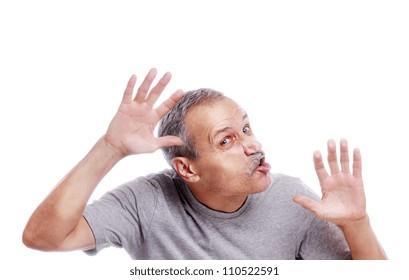 Senior man crushed on transparent glass