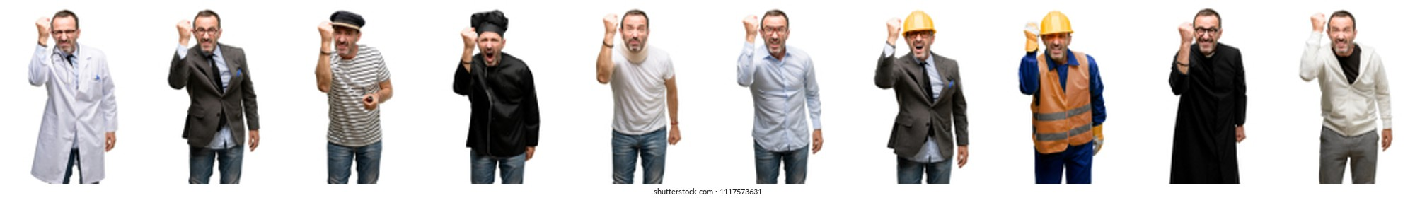 Senior man, different professionals irritated and angry expressing negative emotion, annoyed with someone