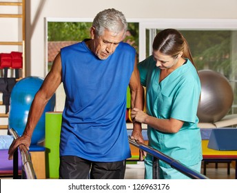 Senior man doing running training with physiotherapist in nursing home