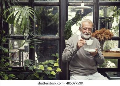 Senior Man Drinking Coffee Lifestyle Concept