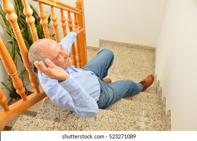 senior man falling down on stairs with hands up to try to catching the railing