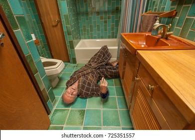 A senior man fell on a bathroom floor and can't get up